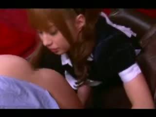 【成瀬心美】巨乳メイドのアナル舐め手コキフェラされカチカチにされる